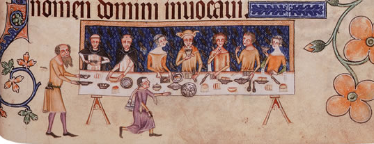 Tasty Meal together, Luttrell Psalter, f. 208 © The British Library