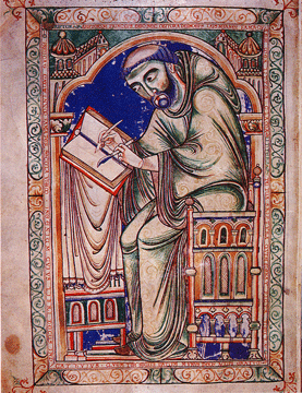 Eadwine hard at work, The Eadwine Psalter (Cambridge, Trinity College Library, MS R.17.1) fol. 283v, c. 1155-1170.