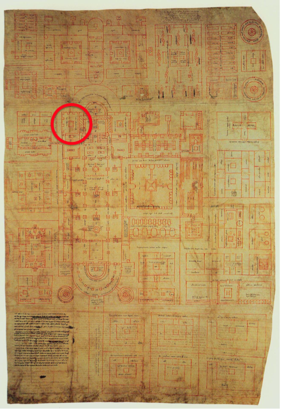 Plan of Saint Gall, Cod. Sangallensis 1092, library indicated in red