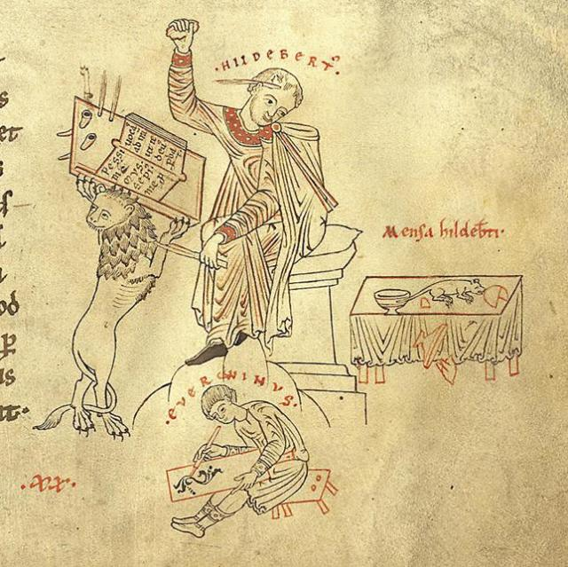 Hildebert distracted by a mouse. (© Prague, Capitular Library, codex A 21/1, fol. 153r)