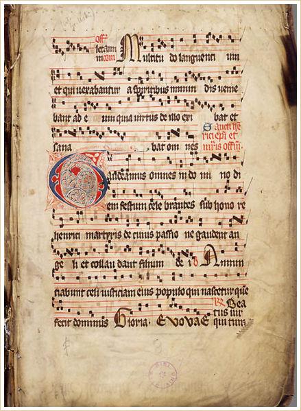 14th-Century Gradual (Introit Gaudeamus omnes)