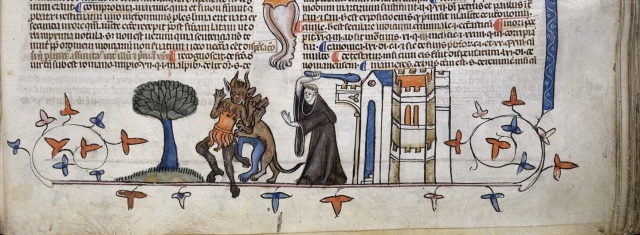 (Monk fighting off some devils with a club—Royal 10 E IV, fol. 247 © The British Library)