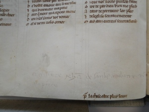 Marginal note regarding payment to the professional scribe Jehan de Sanlis (The Hague, KB, 71 A 24, 13th c)