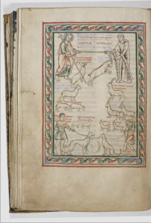 Sheep, goats, and a monk. Can you smell them?  Allegory of the Good and the Bad Shepherd, c. 1190-1200. Brugge, Grootseminarie, MS 89/54 , f. 115v (The Ter Duinen Aviary)  Full digital facsimile here: http://www.historischebronnenbrugge.be/index.php?option=com_album&Itemid=999&task=viewer&album_id=3)