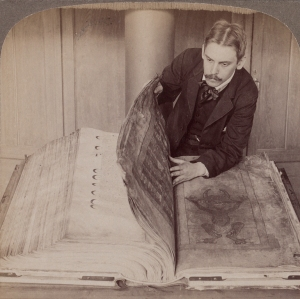 Okay, so my manuscript wasn't this big, but I did feel a bit like this guy with the Codex Gigas.