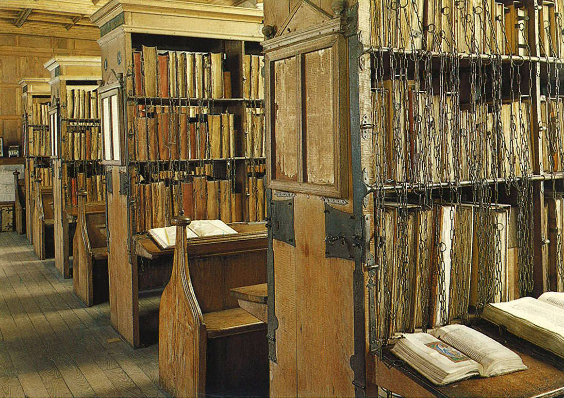 Hereford chained library, courtesy MedievalFragments blog