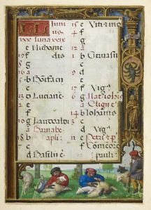 Calendar page for June with a bas-de-page scene of sheep-shearing, from the Golf Book (Book of Hours, Use of Rome), workshop of Simon Bening, Netherlands (Bruges), c. 1540, Additional MS 24098, f. 24r