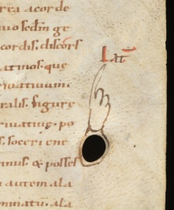 St Gall, Stiftsbibliothek, MS 60: finger pointing at marginal note