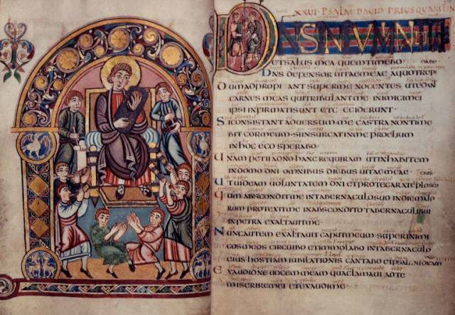 The Vespasian Psalter, f.30v–31, 8th c., Kent. Note the Old English interlinear gloss.