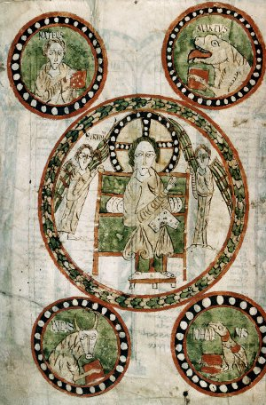 Maiestas Domini in the Gundohinus Gospels. Autun, Bibliotheque municipale MS 3, 12v.