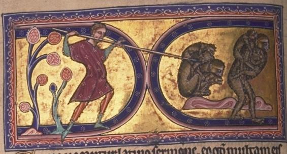 The Aberdeen Bestiary, c. 1200.  Aberdeen University Library, Univ. Lib. MS 24, f. 12v.