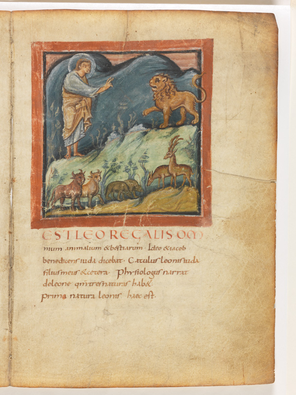 The lion, King of Beasts, before Christ in the Bern Physiologus, c. 830, Reims.  Bern, Burgerbibliothek, Cod. 318, f. 7r.