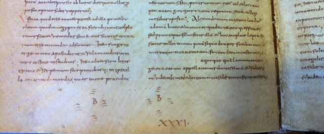 Quire numbering and lettering: Leiden UB VLF 61, f. 16