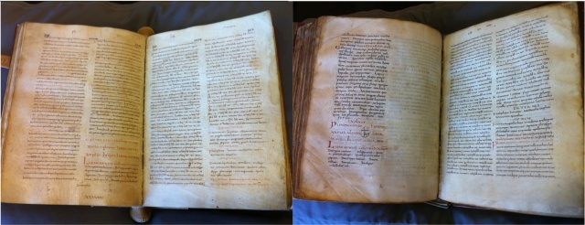 Example of 'copying by divided quires'. Leiden UB LIPS 7 (ff. 291v-292r) on right, copied from Leiden UB VLF 61 (ff. 80v-81r) on left.