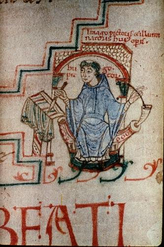 Self-portrait of Hugo 'pictor' and 'illuminator', Oxford, MS Bodley, 717, f. 287v (Jerome on Isaiah) – late 11th-century Jumieges (Normandy)