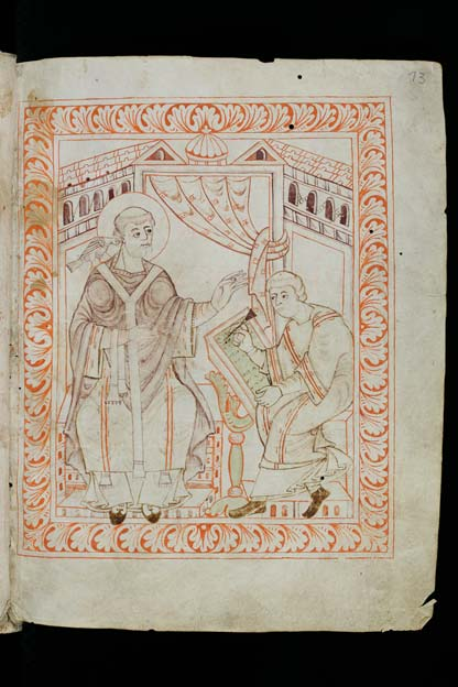 Gregory the Great dictates chant to a scribe in the Hartker Antiphoner, c. 1000 (Cod. Sang. 390, page 13).