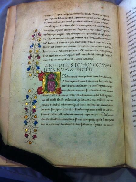 Bruni's translation of Book I of the Pseudo-Aristotelian Economics Leiden UB, PER Q 18, f. 1v