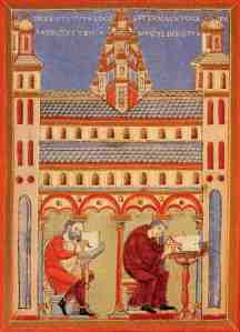 Lay person and monk making books jointly in a monastery (Wiesbaden, Deutches Museum)