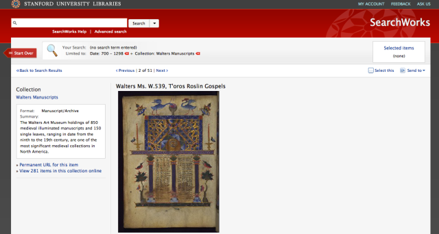Image results for one of the Walters manuscripts in the Stanford digital collection.