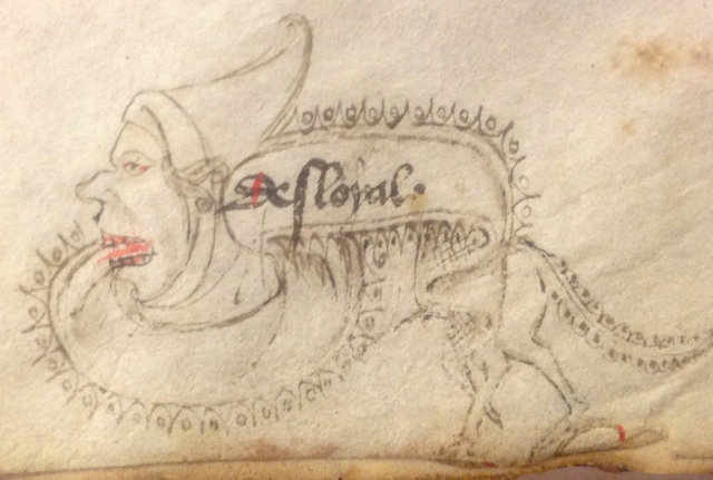 "Close up of catch-word ""desloyal"". Leiden Universiteit Bibliotheek Ms SCA 40, f. 6v. Photo JPC Janzen"