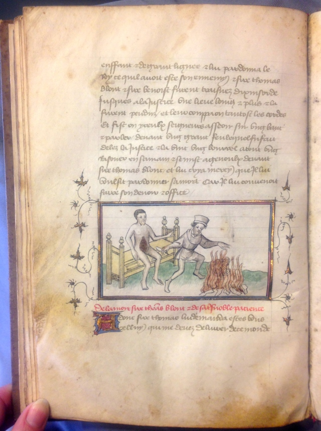 Here the extremely brutal death of Sir Thomas Blount (1400) http://en.wikipedia.org/wiki/Thomas_Blount_(died_1400) , one of Richard II's supporters, is related and illustrated. Leiden Universiteit Bibliotheek Ms SCA 40, f. 42v. Photo JPC Janzen