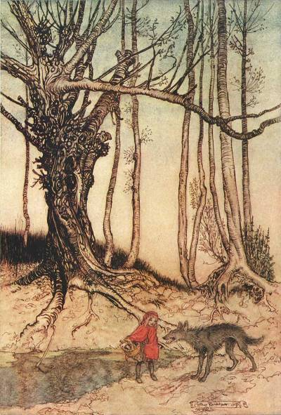Illustration by Arthur Rackham (1909) of the well-known fairy tale Little Red Riding Hood, which has its roots in medieval storytelling.