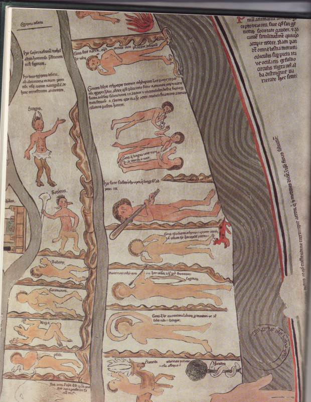 This detail of the Ebstorf Mappa Mundi shows the supposed people of Africa. (There are 24 monstrous races on the Ebstorf map, and 20 on Hereford's.)