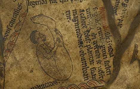 Sciapods were a people with one giant foot. As seen here on the Hereford Mappa Mundi, they used this giant foot like an umbrella to shield them from the elements.