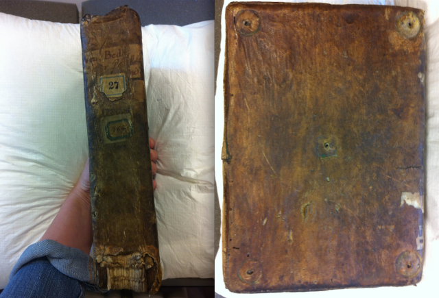Bruges, Bruges City Library, Ms. 27; spine and front.