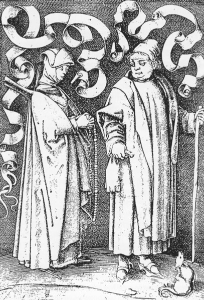 Beguine and Monk, 15th century. Kupferstich von Israhel van Meckenem.