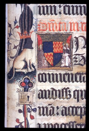 Harley 7026, fol. 8r, Angels holding Lovell and Holland Coat of Arms