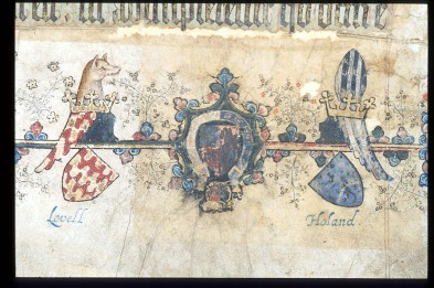 "Harley 7026, fol. 10r (""Heraldry for the Lovell and Holland families"" British Library Caption)"