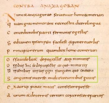 Leiden UB, VLF 30, Lucretius' De Rerum Natura, f. 21v