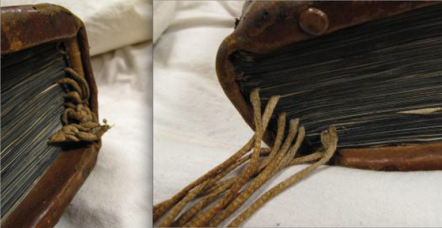Manuscript endband with register bookmark and foot with trailing cords. Auckland Libraries, Sir George Grey Special Collections, Med. MS S.1588. Photo Alexandra Gillespie, from her blog Medieval Bookbindings.