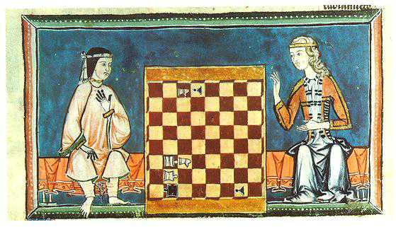 The Libro de los Juegos contains descriptions of over 100 chess problems and plays, as well as different variants (including a 4-player version). Here, an Andalusian Muslim woman plays chess with a blonde Christian woman. Monastery of San Lorenzo de El Escorial, f. 54r