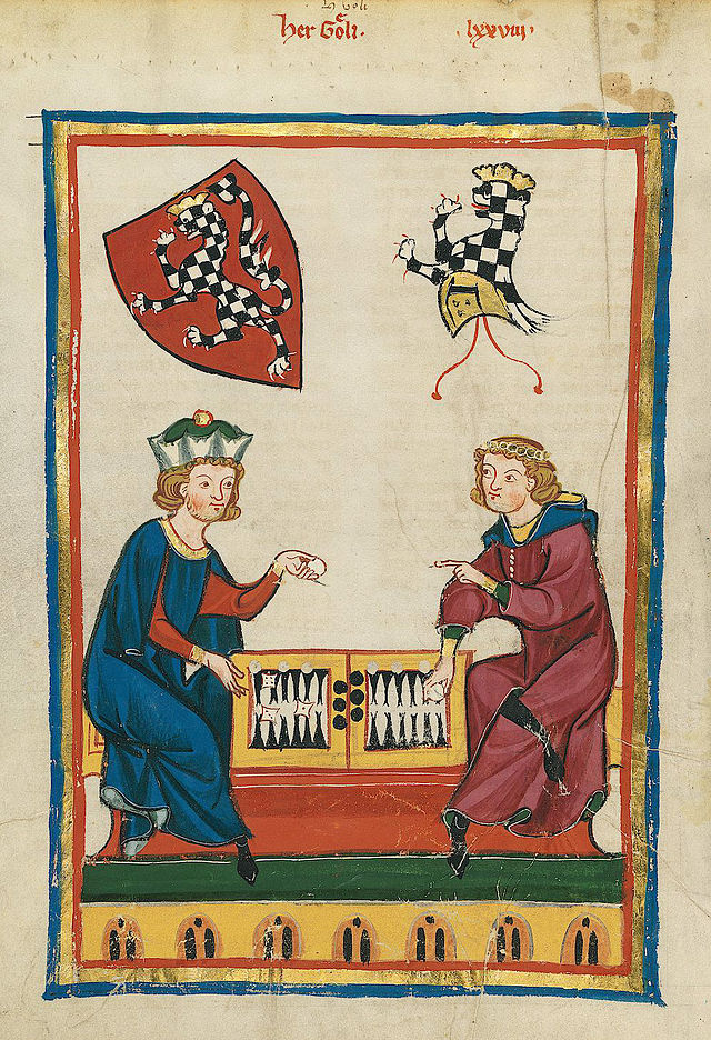 Here, again in the Manesse Codex, a Herr Goeli of Baden plays backgammon. Große Heidelberger Liederhandschrift, Cod. Pal. germ. 848, f. 262v.