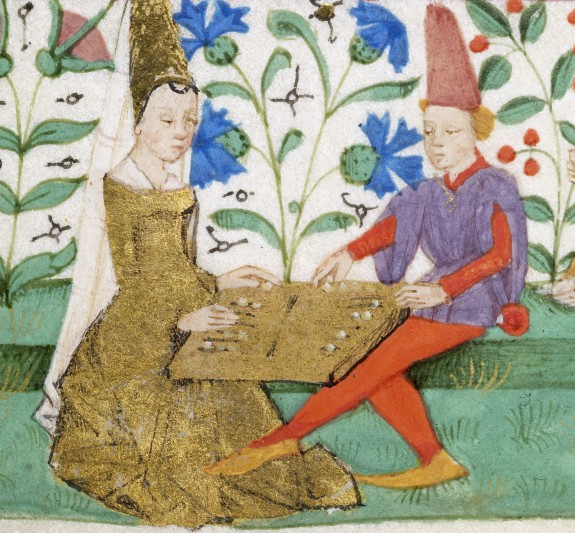 A bored-looking French couple plays a particularly dull game of backgammon in the margins of a Book of Hours, c. 1460. Walters Art Gallery, Ms W 269