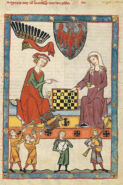 Here Margrave Otto IV of Brandenburg plays chess with his lady. Manasse Codex, Große Heidelberger Liederhandschrift, Cod. Pal. germ. 848, f. 13r. Heidelberg University Library, http://digi.ub.uni-heidelberg.de/diglit/cpg848/0021
